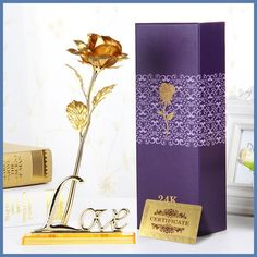 24K Gold Foil Plated Rose Artificial Flowers Valentine's Day Wedding Fake Plants For Home Decorative Flowers