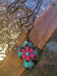 NEW! Pink Flower Cross Necklace Just in time for Spring and Mother's Day!