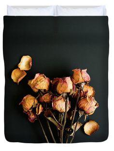 Black, Modern Duvert Cover. Moody Roses Still Life Photo. Design by Sonja Quintero at Fine Art America