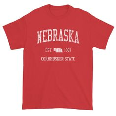 Vintage Nebraska T-Shirt Sports Design Heavy Cotton Adult Tee