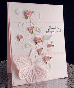 Butterfly and Pink Roses Impression Obsession Butterfly, Roses and sentiment Die-namic Flourishes Punch Bunch small leaf punch Unknown Textured white paper (wish I had more of it) Michaels pink card stock Half pearl Butterfly Cards, Flower Cards, Pink Butterfly, Pretty Cards, Cute Cards, Pinterest Birthday Cards, Cards For Friends, Friend Cards, Creative Cards