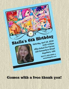 Winx+Club+Birthday+Party+Photo+Invitation+with+free+by+Design13,+$10.00