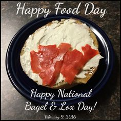 """The English word lox is derived from the Yiddish word for salmon, """"laks"""".  Happy National Bagel & Lox Day!  February 9, 2016"""