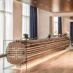 This is an exceptional reception desk at located inside The Beaubois team repurposed 27 ft. long… This is an exceptional reception desk at located inside The Beaubois team repurposed 27 ft. Lounge Design, Design Entrée, Design Room, Design Ideas, Lounge Decor, Design Concepts, Wood Design, Modern Design, Hotel Reception Desk