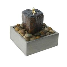 Algreen Illuminated Relaxation Outdoor Fountain with Authentic Basalt Rock Pillar and Stainless Steel Base - Gray - Fountains at Hayneedle Table Fountain, Rock Fountain, Diy Fountain, Indoor Fountain, Basalt Rock, Basalt Stone, Fountains For Sale, Water Fountains, Outdoor Fountains