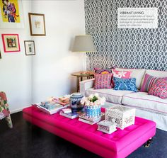 Love the pink coffee table/ottoman. Bold Inspiration: Hot Pink and Navy Blue Rooms Navy Blue Rooms, Clear Coffee Table, Coffee Tables, Pink Ottoman, Ottoman Table, Ottoman Decor, Table Bench, Fabric Ottoman, Tufted Ottoman