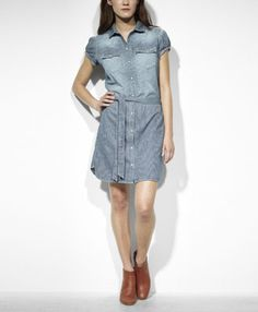 This would be great for the summer...Levi's Essential Everyday Dress - Stripe Denim - Dresses & Skirts