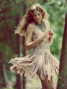 Free People Samantha Embellished Dress Love the sequin front, nude colour and frayed chiffon. So pretty! Bohemian Mode, Bohemian Style, Boho Chic, Hippie Chic, Boho Fashion, Fashion Outfits, Womens Fashion, Sarouel Pants, Bohemian Schick