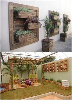 Vertical Pallet Gardens on Walls