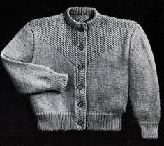 Seed Stitch Cardigan knit pattern from Fashions in Wool for Little Tots, originally published by Hilde, Volume 115.