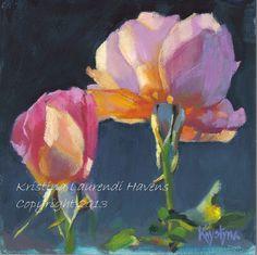 Pair of Pink Roses Oil Painting Small Art Reproduction  Kristina Laurendi Havens