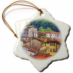3dRose Roof Tops of Lucca, Lucca, Italy - EU16 TEG0254 - Terry Eggers, Snowflake Ornament, Porcelain, 3-inch