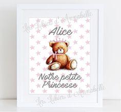 """Affiche A3 pour chambre bébé """"Notre petite Princesse"""" PERSONNALISABLE"""