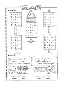 Exercices à imprimer pour les enfants. Multiplications fun pour apprendre l'espagnol 6