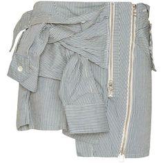 Faith Connexion Sleeve Tie Striped Mini Skirt ($750) ❤ liked on Polyvore featuring skirts, mini skirts, blue skirt, pinstripe mini skirt, short cotton skirts, striped skirt and stripe skirt
