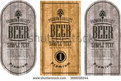 set labels for beer in a retro style with malt against the backdrop of wooden planks