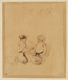 Rembrandt (Rembrandt Harmenszoon van Rijn), 1606-1669, Dutch, The Emperor Akbar and his Son Selim in Apotheosis, after a Mughal Miniature, c.1656. Pen and brown ink, brown wash, corrected with white bodycolour; 21.2 x 17.4 cm. Museum Boijmans Van Beuningen, Rotterdam. Dutch Golden Age, Baroque.