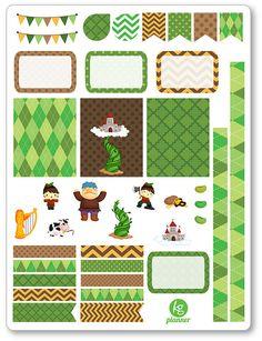 Beanstalk Decorating Kit / Weekly Spread Planner Stickers for Erin Condren Planner, Filofax, Plum Paper