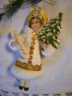 Victorian Christmas Ornaments, Antique Christmas Ornaments, Vintage Ornaments, Christmas Angels, Christmas Art, Christmas Decorations, Homemade Christmas, Dresden, Diy Crafts Vintage