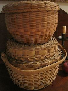 native american woodlands indian winnowing woven basket | Old Lidded Native American Woodland Baskets...Sold By North Bayshore ...