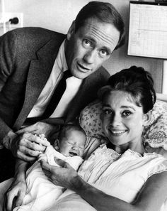 Mel Ferrer with wife Audrey Hepburn, and their baby son, Sean (1960)