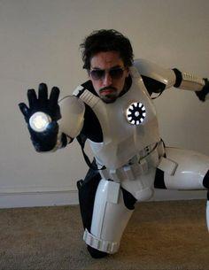 "Tony Stark, Iron Man, Star Wars, Stormtrooper, Mashup...yah idk what to put it in ""Star Wars!"" or ""avengers assemble!!!"""