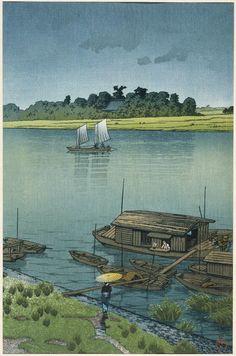 Kawase Hasui (Japanese, 1883–1957), Early Summer Rain, Arakawa (Samidare [Arakawa]), Shôwa era, 1932