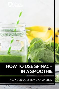 Complete guide on how to use spinach in a smoothie, whether to use fresh or frozen spinach, how much, how to measure it, is raw spinach safe, can you taste it? Raw Vegan Smoothie, Best Green Smoothie, Healthy Green Smoothies, Fruit Smoothie Recipes, Smoothie Ingredients, Smoothie Diet, Raw Spinach, Frozen Spinach, How To Store Spinach