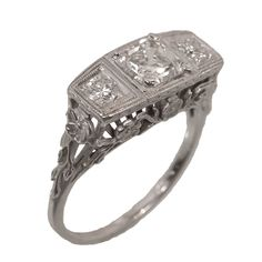 Antique Ascher Cut Diamond Ring  Art Deco filigree ca 1920s  Zabler Design Jewelers  Reference Number:R7574
