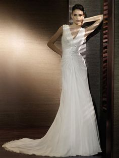 Bridal Gown - Draped V Neck