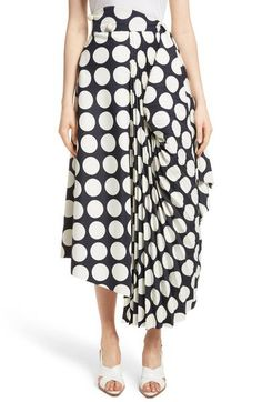 b049f83a07e Giant Polka Dot Pleated Skirt A.W.A.K.E. Navy Skirt, Pleated Skirt, Midi  Skirt, Skirt