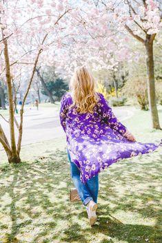Outfit unter Kirschblüten: Rosa meets Ultraviolet und Karl Lagerfeld Tasche Karl Lagerfeld Taschen, Felder, Pastel Pink, Ultra Violet, Cherry Blossom, Pink Flowers, Tie Dye, Cover Up, Outfits