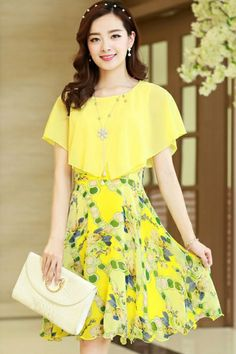 Elegant Chiffon Floral Dress