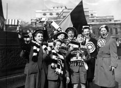 Bolton Wanderers fans in Trafalgar Square for the 1958 FA Cup. Bolton would win 2-0 with two goals from Nat Lofthouse.