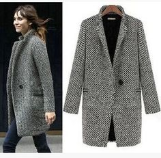 Free Shipping women's european fashion houndstooth plaid grey cashmere tweed woolen long coat stand collar overcoat trench SMLXL-in Wool & Blends from Apparel & Accessories on Aliexpress.com | Alibaba Group