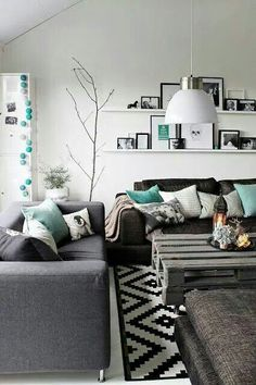 Living room black n turqoise theme