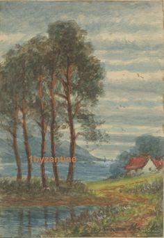 Original Charming small water colour painting by F. Martinus Hulk Royal Academy circa 1900 of North Devon near Combe Martin Exmoor. Size of Painting cm - 5 cm , Mount size cm - 20 cm. North Devon, Watercolour Painting, Hulk, My Ebay, Artist, Artists