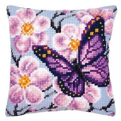 Latch Hook butterfly Cushion Kit Pillow Case Crochet Hobby & Crafts DIY Yarn for Embroidery Art Cushion Cover Cross Stitch Cushion, Cross Stitch Fabric, Cross Stitch Kits, Cross Stitch Designs, Cross Stitching, Cross Stitch Patterns, Butterfly Cushion, Purple Butterfly, Butterfly Cross Stitch