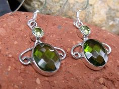 PERIDOT QUARTZ & INDIAN 925 SILVER HANDCRAFTED EARRINGS