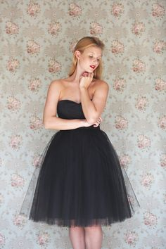 Women's Black tulle sweetheart strapless cotton and tulle bridesmaid, tea length party dress - Made to order