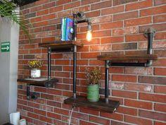 Rustic Industrial Pipe & Wood Wall Shelf