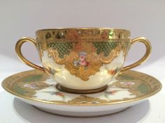 Antique French Sevres Hand Painted Porcelain Cup & Saucer