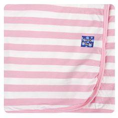 Kickee Pants Newborn Swaddling Receiving Blanket, Baby Girls- Baby Stripe, One Size KicKee Pants