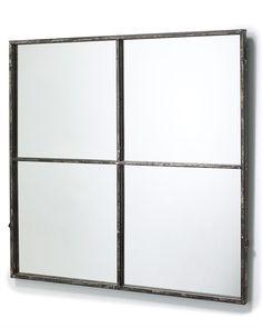 mirrordeco.com — Window Frame Mirror - Distressed Black Frame H:80cm