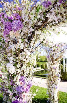 Lilac and white wedding theme.