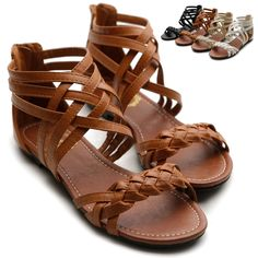 ollio Womens Sandals Gladiator Strappy Zip Closure Multi Colored Shoes
