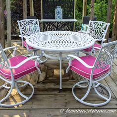 How To Paint Metal Patio Furniture When your patio furniture needs an update, learn how to paint outdoor metal furniture for an easy and cheap way to upgrade your decor. Metal Garden Table, Patio Table, Dining Table Chairs, Outdoor Tables, Outdoor Decor, Patio Dining, Outdoor Projects, Dining Set, Outdoor Dining
