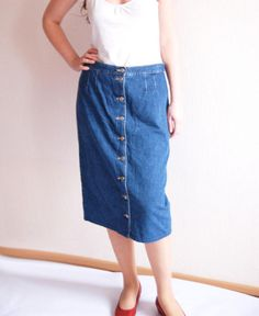 2699478b656 90s Plus Size Vintage Dark Wash Blue Pencil Midi Denim Skirt High Waist  Jean Skirt