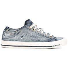Diesel Denim Sneakers ($96) ❤ liked on Polyvore featuring shoes, sneakers, denim, blue, blue shoes, laced up shoes, almond toe shoes, diesel trainers and denim sneakers