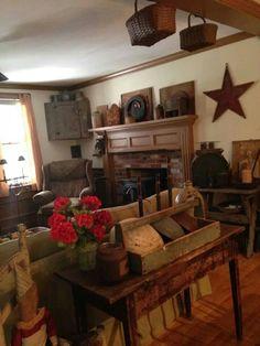 Unique Country Primitive Home Decor Inspiration Design . Primitive Living Room, Primitive Homes, Primitive Kitchen, Primitive Furniture, Primitive Fireplace, Colonial Furniture, Primitive Antiques, Rustic Kitchen, Country Kitchen